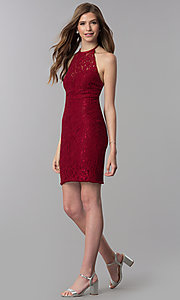 Image of short lace open-back halter homecoming dress. Style: NC-207 Detail Image 2