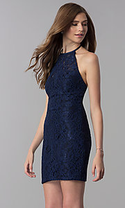 Image of short lace open-back halter homecoming dress. Style: NC-207 Detail Image 3