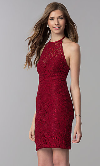 Short Lace Open-Back Halter Homecoming Dress