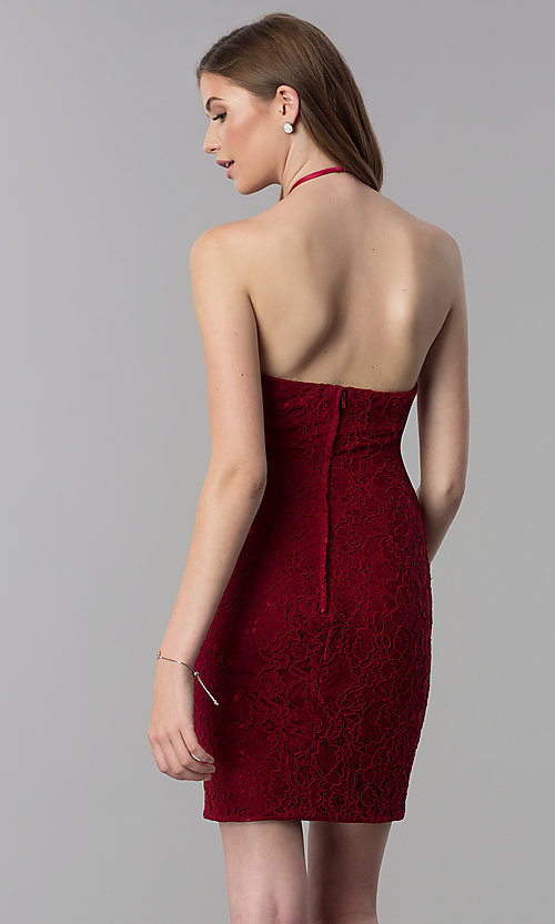 Image of short lace open-back halter homecoming dress. Style: NC-207 Back Image