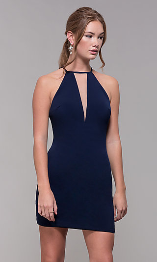 Navy Homecoming Dress with Illusion-Inset Bodice
