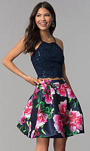 Image of two-piece homecoming dress with print skirt. Style: MCR-2401 Front Image