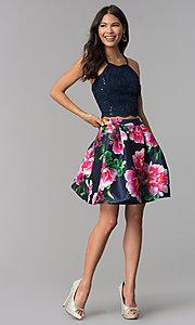 Image of two-piece homecoming dress with print skirt. Style: MCR-2401 Detail Image 2