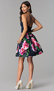 Image of two-piece homecoming dress with print skirt. Style: MCR-2401 Detail Image 3
