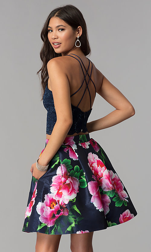 Image of two-piece homecoming dress with print skirt. Style: MCR-2401 Back Image