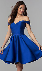 Image of short off-the-shoulder corset homecoming dress. Style: CLA-S3442 Front Image