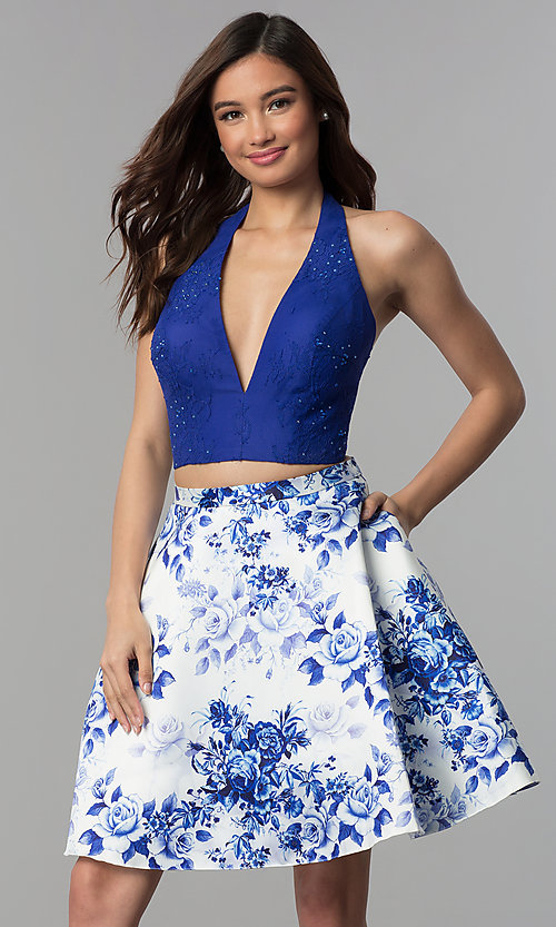 Image of two-piece halter-top short homecoming dress. Style: CLA-3637 Front Image