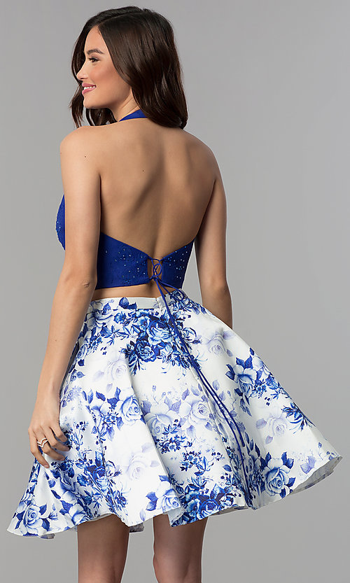 Image of two-piece halter-top short homecoming dress. Style: CLA-3637 Back Image