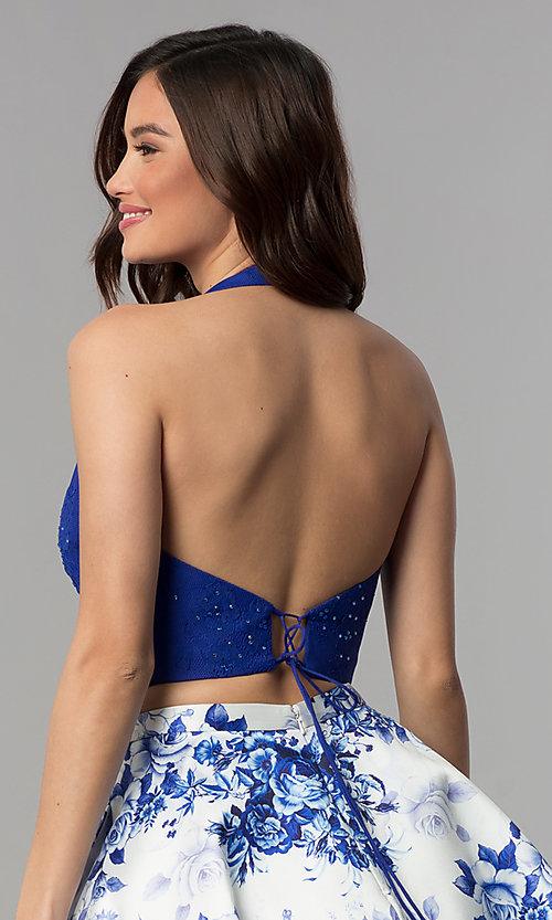 Image of two-piece halter-top short homecoming dress. Style: CLA-3637 Detail Image 2