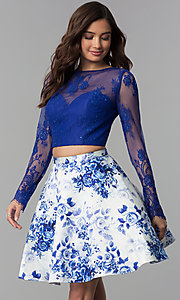 Image of short long-sleeve two-piece print homecoming dress. Style: CLA-3638 Front Image