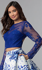Image of short long-sleeve two-piece print homecoming dress. Style: CLA-3638 Detail Image 1