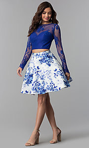 Image of short long-sleeve two-piece print homecoming dress. Style: CLA-3638 Detail Image 3