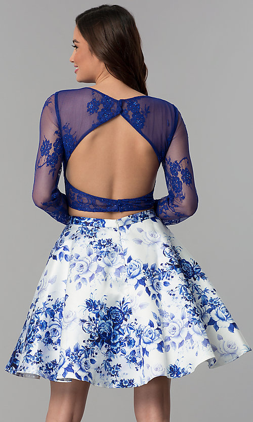 Image of short long-sleeve two-piece print homecoming dress. Style: CLA-3638 Back Image