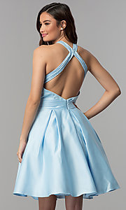 Image of short pleated-waist high-neck homecoming dress. Style: CLA-S3489 Back Image