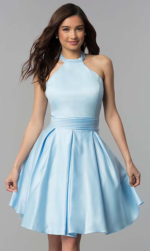 Image of short pleated-waist high-neck homecoming dress. Style: CLA-S3489 Front Image