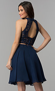 Image of short two-piece lace-top homecoming dress. Style: CLA-S3427 Back Image