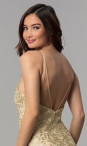 Image of embroidered-lace short metallic homecoming dress. Style: CLA-3675 Detail Image 2