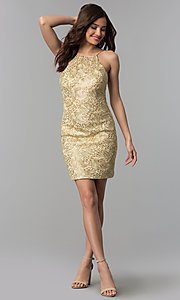 Image of embroidered-lace short metallic homecoming dress. Style: CLA-3675 Detail Image 3