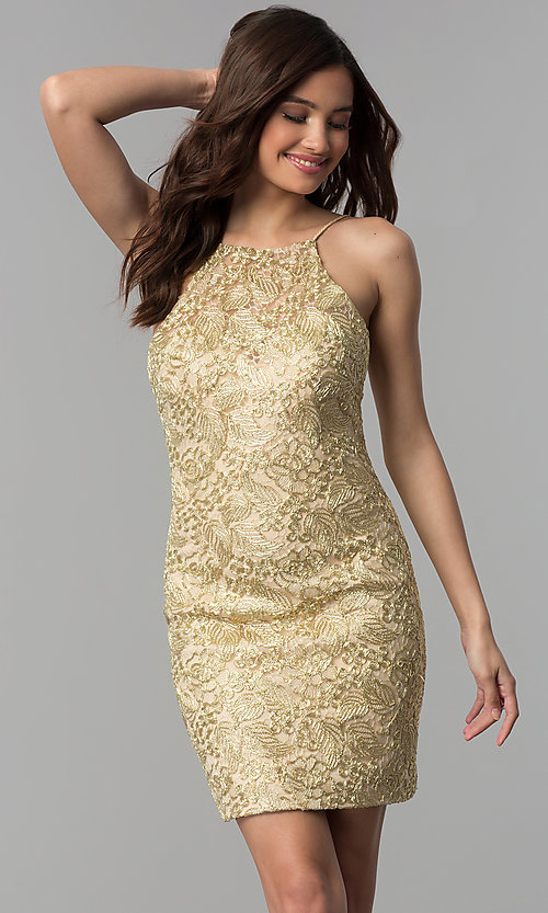 Image of embroidered-lace short metallic homecoming dress. Style: CLA-3675 Front Image