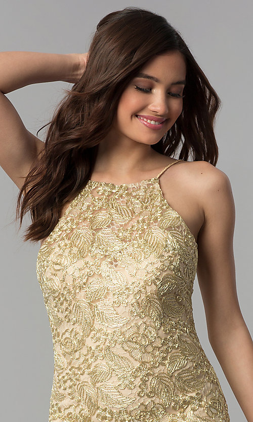 Image of embroidered-lace short metallic homecoming dress. Style: CLA-3675 Detail Image 1