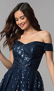 Image of short off-the-shoulder sweetheart homecoming dress. Style: CLA-3345 Detail Image 1