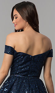 Image of short off-the-shoulder sweetheart homecoming dress. Style: CLA-3345 Detail Image 2