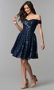 Image of short off-the-shoulder sweetheart homecoming dress. Style: CLA-3345 Detail Image 3