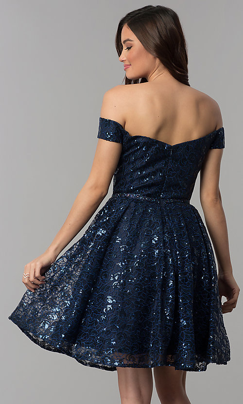 Image of short off-the-shoulder sweetheart homecoming dress. Style: CLA-3345 Back Image