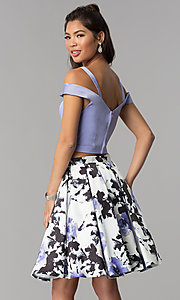 Image of two-piece print-skirt short homecoming dress. Style: DJ-A7154 Back Image