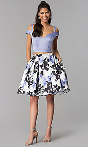 Image of two-piece print-skirt short homecoming dress. Style: DJ-A7154 Detail Image 2