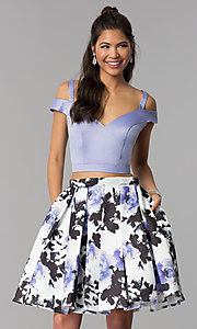 Image of two-piece print-skirt short homecoming dress. Style: DJ-A7154 Front Image