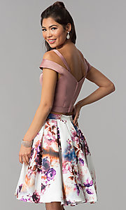 Image of print-skirt two-piece short homecoming dress. Style: DJ-A7155 Back Image