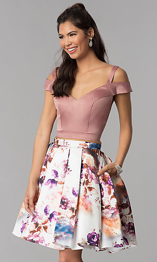 Print-Skirt Two-Piece Short Homecoming Dress