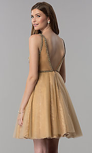 Image of cream gold v-neck short homecoming dress. Style: TI-GL-1721H4515G Back Image