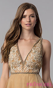 Image of cream gold v-neck short homecoming dress. Style: TI-GL-1721H4515G Detail Image 1