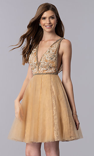Cream Gold V-Neck Short Homecoming Dress