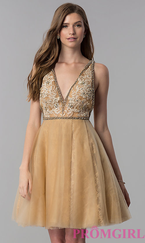 Image of cream gold v-neck short homecoming dress. Style: TI-GL-1721H4515G Front Image