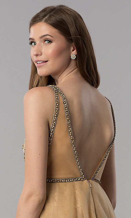 Image of cream gold v-neck short homecoming dress. Style: TI-GL-1721H4515G Detail Image 2