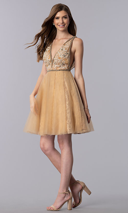 Image of cream gold v-neck short homecoming dress. Style: TI-GL-1721H4515G Detail Image 3