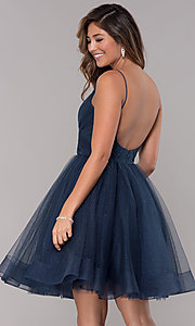 Image of glitter tulle short homecoming party dress. Style: TI-GL-1821H7761 Back Image