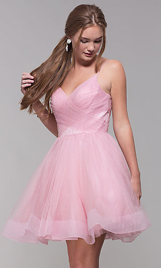 Glitter Tulle Short Homecoming Party Dress