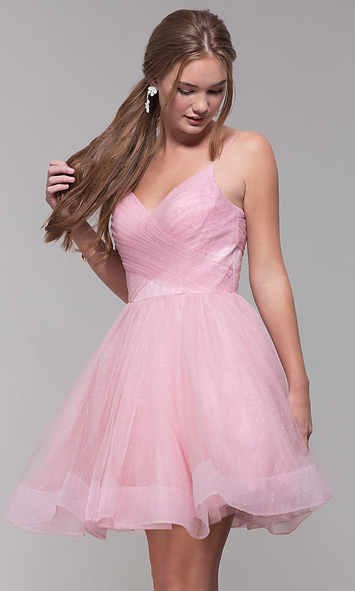 Image of glitter tulle short homecoming party dress. Style: TI-GL-1821H7761 Front Image