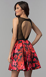 Image of black red floral-print-skirt homecoming dress. Style: TI-GL-1825H7966 Back Image