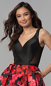 Image of black red floral-print-skirt homecoming dress. Style: TI-GL-1825H7966 Detail Image 1