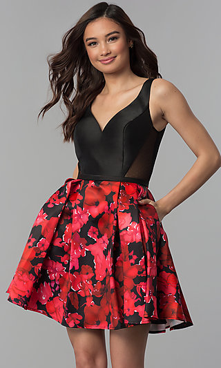 Black and Red Floral-Print-Skirt Homecoming Dress