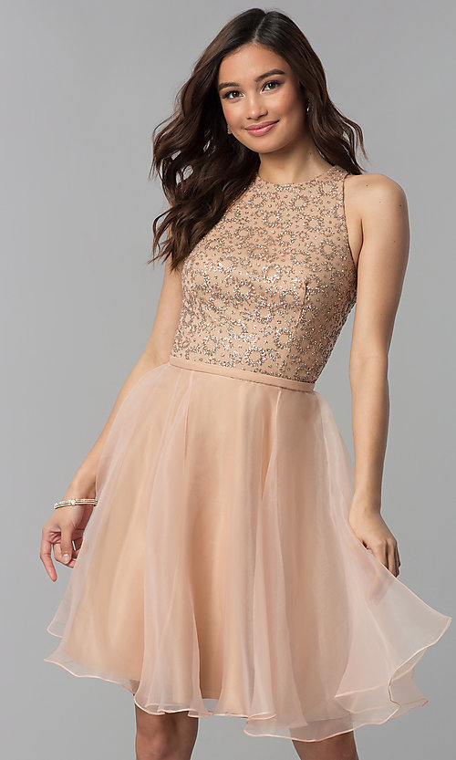 a196d55abf2 Image of glitter-embellished-bodice short homecoming dress. Style  TI-GL