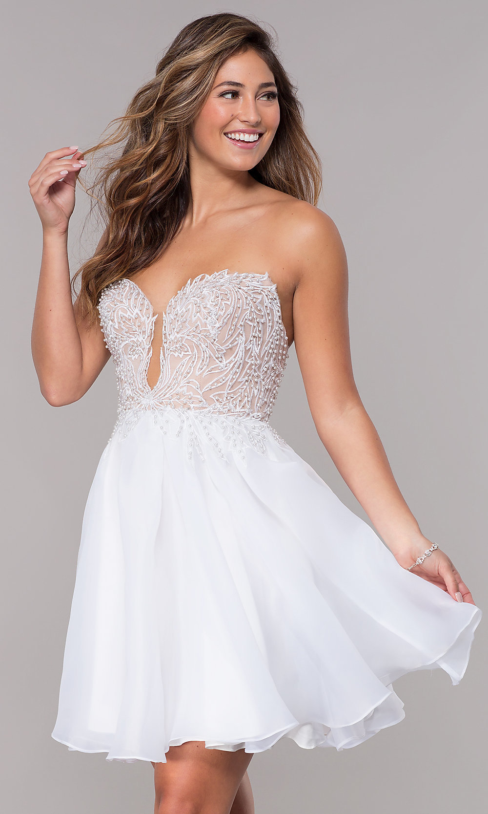 great look select for authentic choose genuine Short Strapless Embroidered-Bodice Homecoming Dress