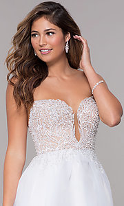 Image of short strapless embroidered-bodice homecoming dress. Style: TI-GL-1811P5100G Detail Image 1