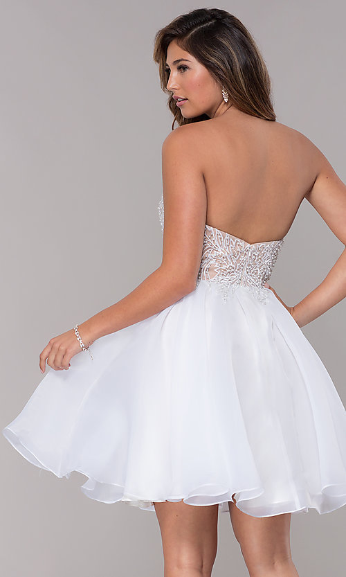Image of short strapless embroidered-bodice homecoming dress. Style: TI-GL-1811P5100G Back Image