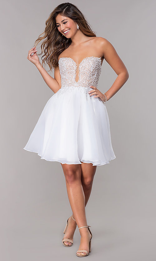Image of short strapless embroidered-bodice homecoming dress. Style: TI-GL-1811P5100G Detail Image 3